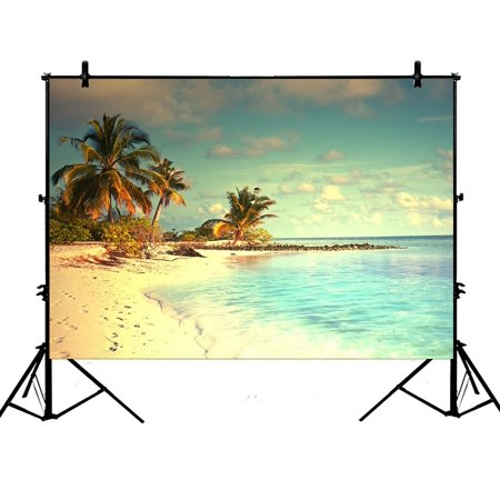 PHFZK 7x5ft Ocean theme Backdrops, Beautiful Maldives Beach with Palms and Blue Sea Photography Backdrops Polyester Photo Background Studio Props (Beach Themed Photo Props)