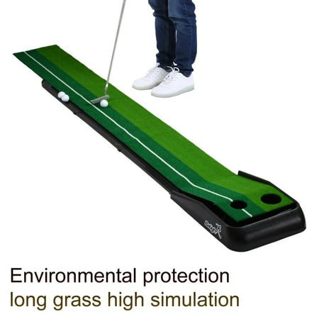 ZEDWELL Indoor Golf Putting Practice Mat, Putting Green Portable Outdoor Golf Auto Ball Return Function, 1 Putter Putting Trainer Mat Dual-Track ProEdge - Extra Long 10.5 Feet