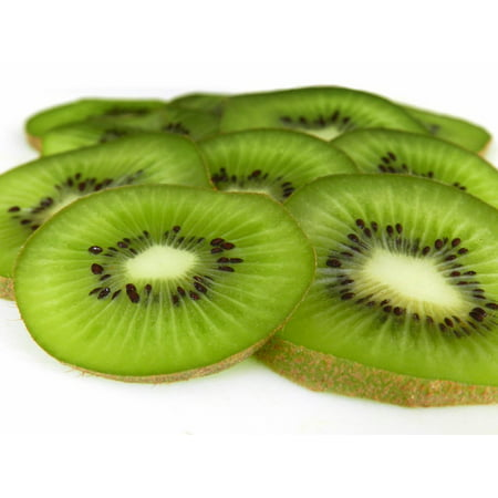 Kiwi Slices (Canvas Print Green Kiwi Fruit Slices Juicy Fresh Sweet Stretched Canvas 10 x 14)