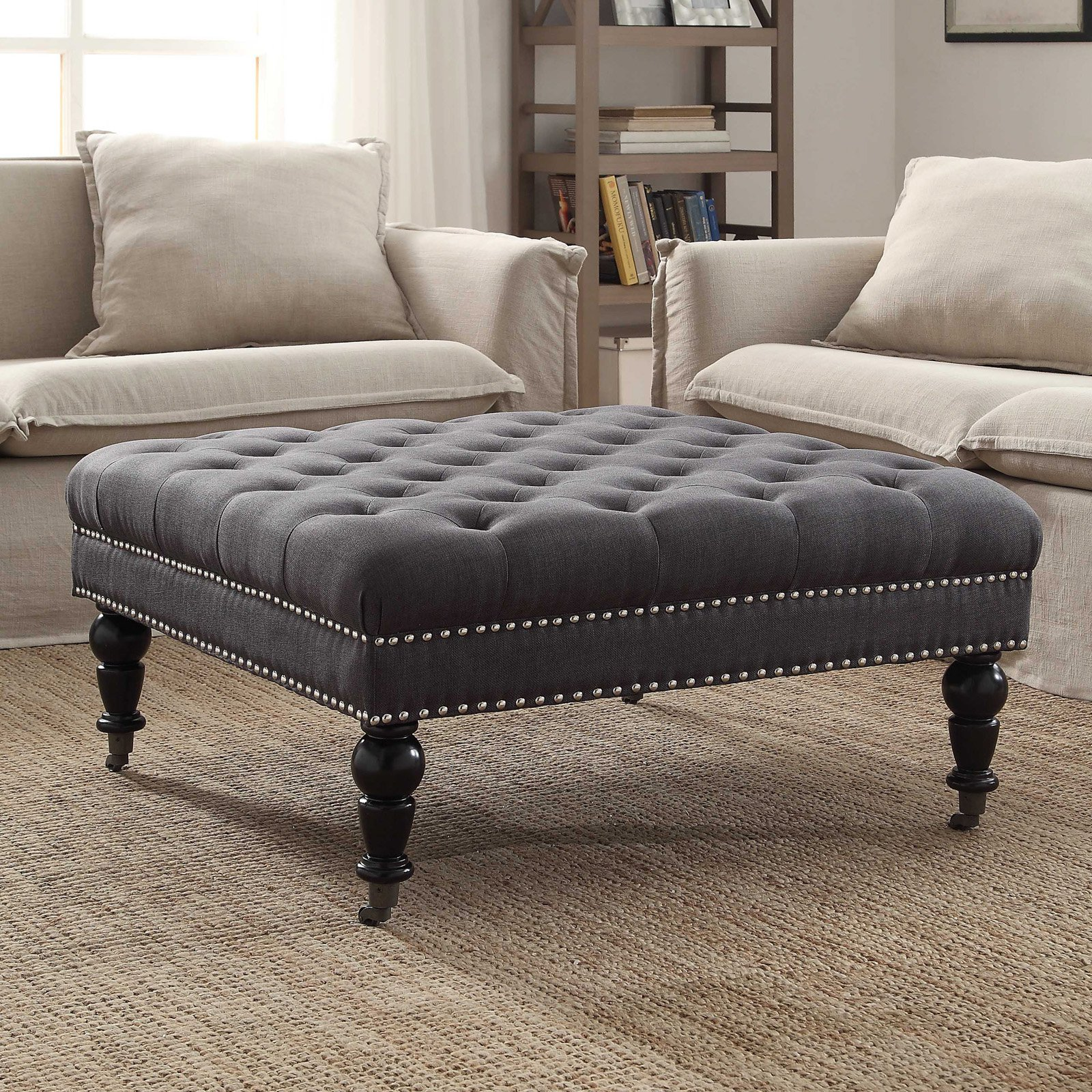 Linon Isabelle Square Tufted Ottoman, Multiple Colors