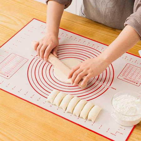 Large Silicone Pastry Mat Extra Thick Non Stick Baking Mat with Measurement Fondant Mat, Counter Mat, Dough Rolling Mat, Oven Liner, Pie Crust Mat(16''(W)24''(L))-2Pack Silpat Non Stick Baking Mat