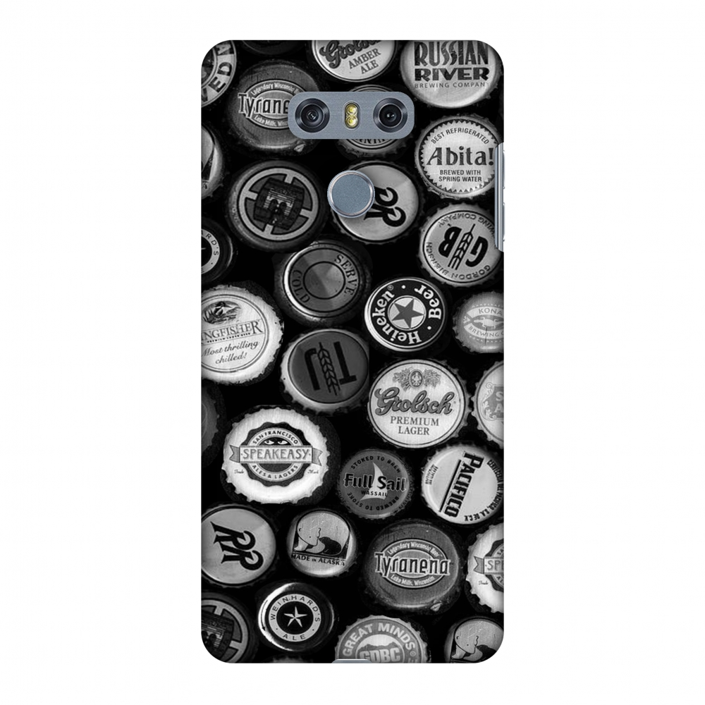 LG G6 Case, LG G6 Plus Case - Beer Caps Monochrome,Hard Plastic Back Cover, Slim Profile Cute Printed Designer Snap on Case with Screen Cleaning Kit