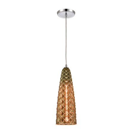 ELK Lighting Glitzy 1-Light Mini Pendant in Polished Chrome with Golden Bronze Plated Glass