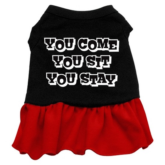 You Come, You Sit, You Stay Screen Print Dress Black with Red XS (8)