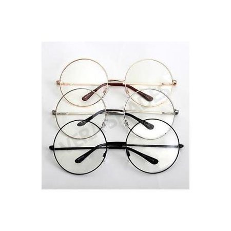 Vintage Retro Clear Lens Metal Oversized Circle Round Glasses Frames Black (Cartier Glasses Gold Frame)