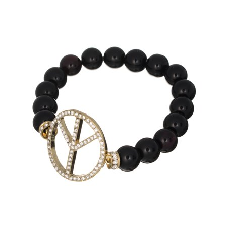 Gold-tone Peace Sign with & Bead Stretch Bracelet