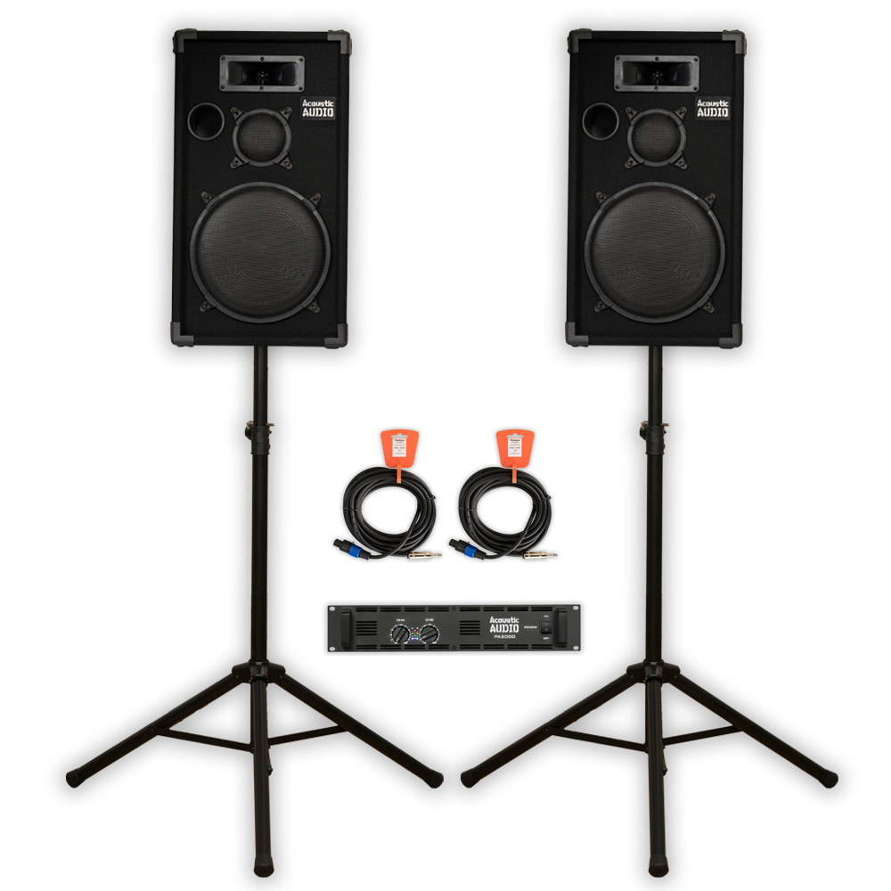 "Acoustic Audio CR12 DJ 12"" Speaker Set with Amp Stands and Cables for PA Karaoke Band"