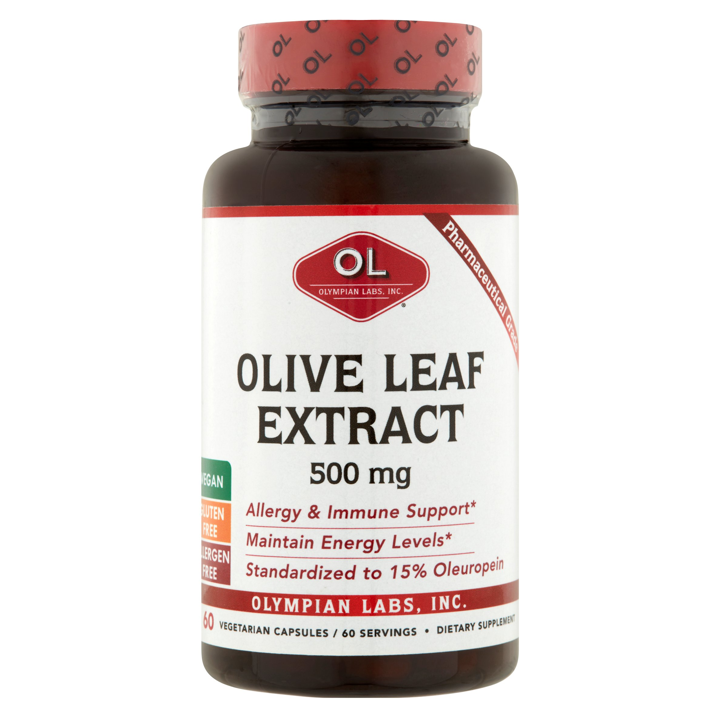 Olympian Labs Olive Leaf Extract Vegetarian Capsules, 500 mg, 60 count