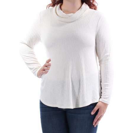 STYLE & COMPANY Womens Ivory Textured Long Sleeve Cowl Neck Top Petites  Size: XL