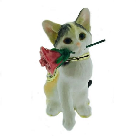 - Cat with Rose Bejeweled Enamel Jewelry Trinket Keepsake Box Container New