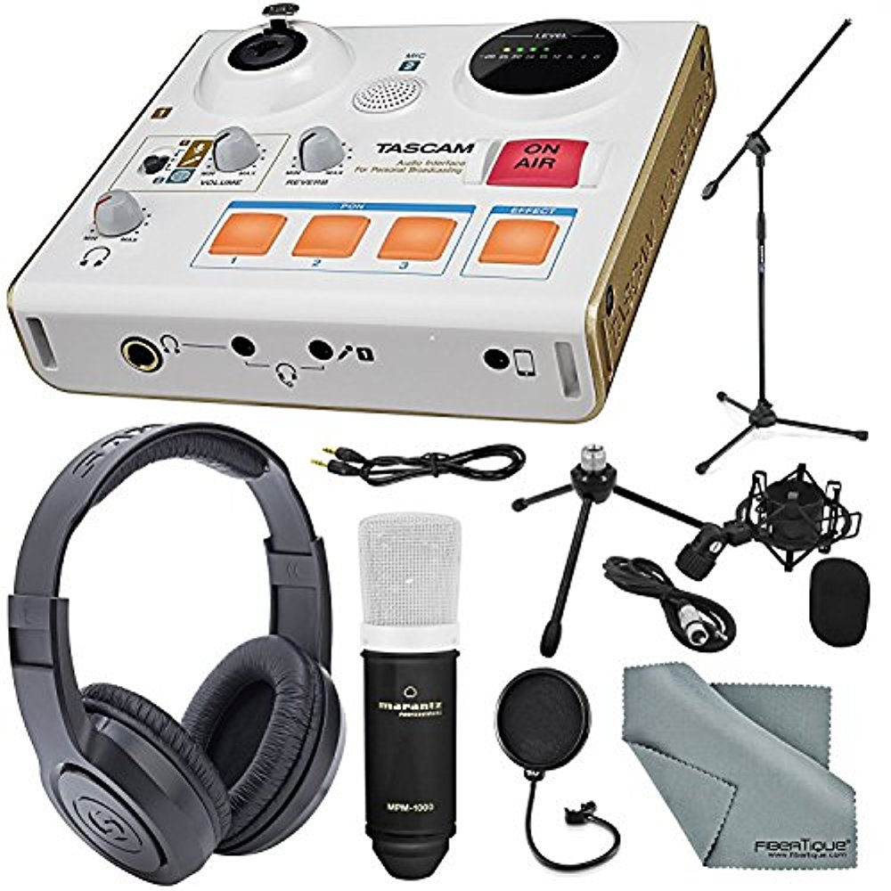 Tascam US-32 MiniStudio Personal Audio Interface Online Podcast/Broadcasts and more W/ Platinum Aux Cable + Stereo Headphones + Large-Diaphragm Microphone & Stand + Pop Filter + Fibertique Cloth