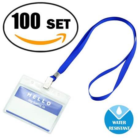 ff017002aff6 Gimars Waterproof Clear Nametags ID Name Badge Holder with Lanyards,3.5 *  2.2 inches,100 Pack