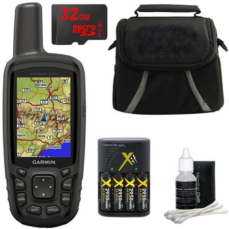 (Garmin GPSMAP 64sc Handheld GPS - 1 Year BirdsEye 010-01199-30 w/ 32GB Micro SD Bundle)