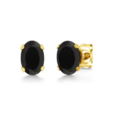 0.78 Ct Oval Shape Black Onyx Gemstone Yellow Gold Plated Silver Stud Earrings