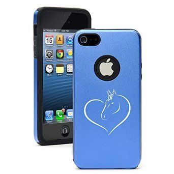 Apple iPhone 6 6s Shockproof AS Aluminum & Silicone Hard Soft Case Cover Heart Horse (Blue),Daylor