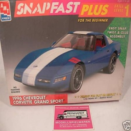 Scale Snap Together Plastic Model (#8763 AMT Snap Fast Plus 1996 Chevrolet Corvette Grand Sport 1/25 Scale Plastic Model Kit,Needs Assembly)