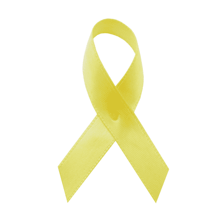Yellow Satin Awareness Ribbons - Bag of 250 Fabric Ribbons w/ Safety Pins - Yellow Ribbons