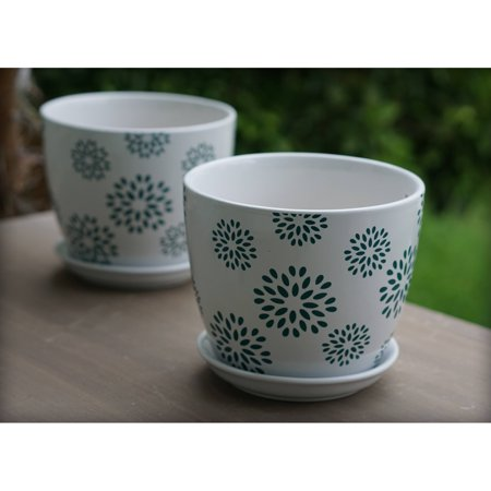 Better Homes and Gardens 8 in. Flower Outdoor Ceramic Planter - Set of 2 - Flower Planters