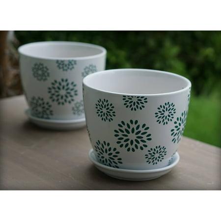 Better Homes and Gardens 8 in. Flower Outdoor Ceramic Planter - Set of 2 - Fruit Platter Ideas For Halloween