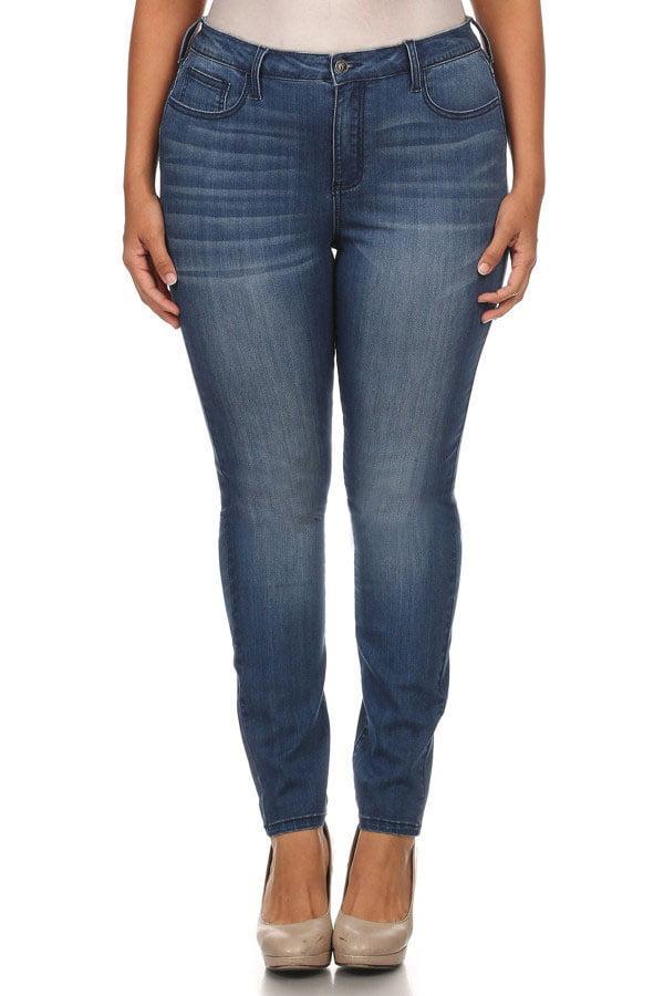 Juniors' Plus Size Dark Wash Super Stretch Skinny Jeans
