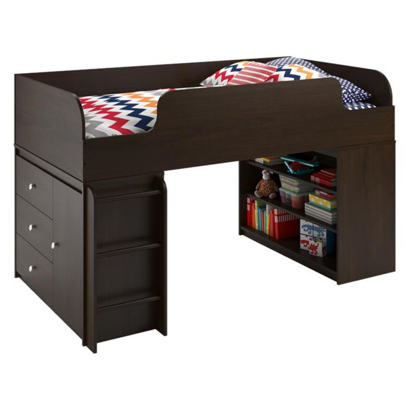 Ameriwood Home Elements Loft Bed with Bookcase and 3 Drawer Storage Organizer with Door, Dark Cherry