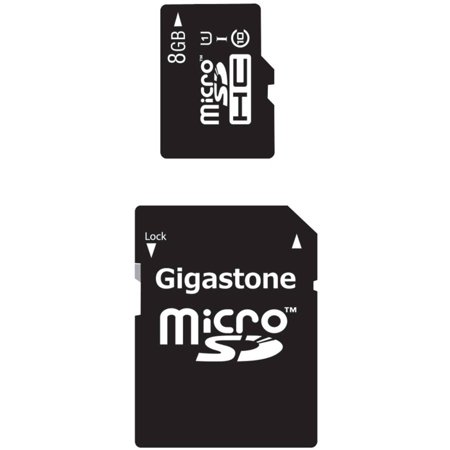 Gigastone GS-2IN1C1008G-R Class 10 UHS-1 microSDHC Card and SD Adapter with up to 48Mbps Transfer Rates,