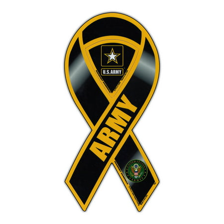 Magnetic Bumper Sticker - US Army (United States Army) - Ribbon Shaped Support, Pride Magnet - 3.75