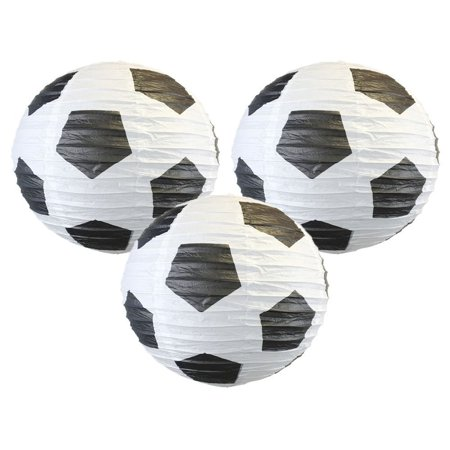 Just Artifacts Just Artifacts Soccer Ball 16 Round Decorative Paper Lanterns (Set of 3) - Decorative Round Paper Lanterns for Birthday Parties, Weddings, Baby Showers, and Life Celebrations