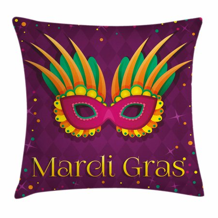 Mardi Gras Throw Pillow Cushion Cover, Festival Mask Design on Purple Backdrop with Stars and Colorful Dots, Decorative Square Accent Pillow Case, 16 X 16 Inches, Purple Orange Green, by Ambesonne (Mardi Gras Backdrop)