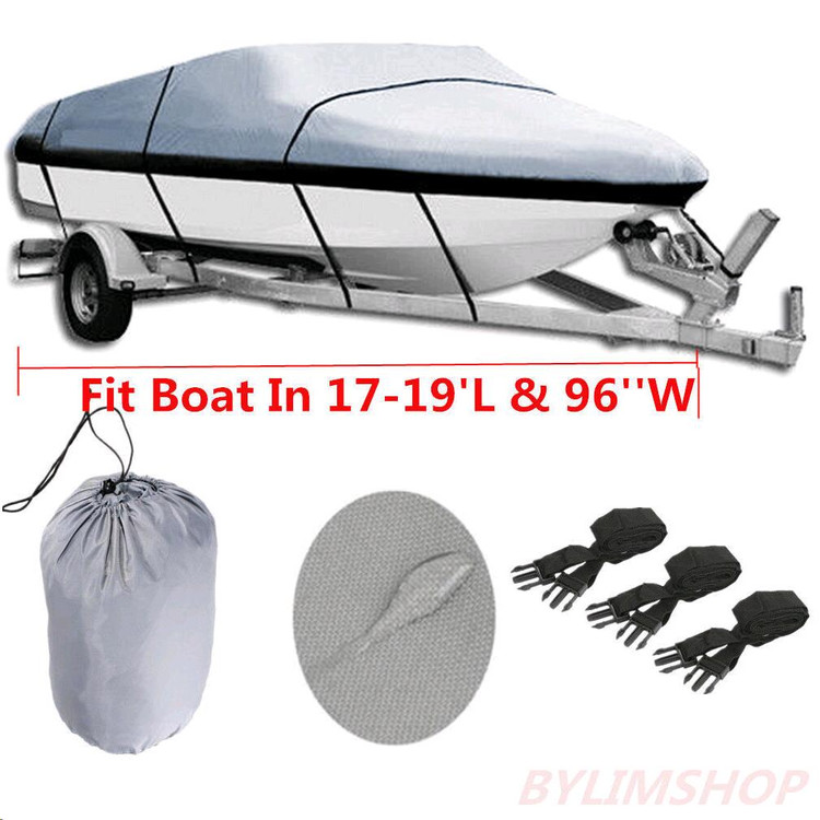 Gray Heavy Duty Waterproof Mooring Boat Cover Fits Length 20' 21' 22' Superior Trailerable Boat Covers 600 Denier V-Hull... by Generic