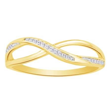 (0.05 cttw) Round Cut White Natural Diamond Crisscross Fashion Ring In 10k Yellow Gold Ring Size-4