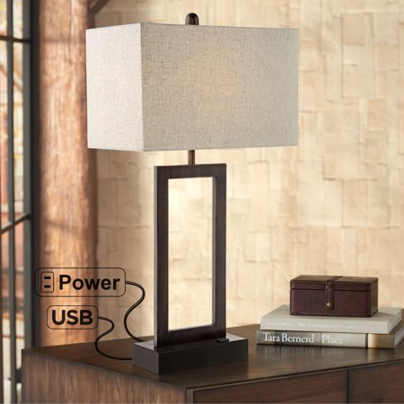 360 Lighting Todd Bronze Finish Metal Table Lamp with USB Port and Outlet