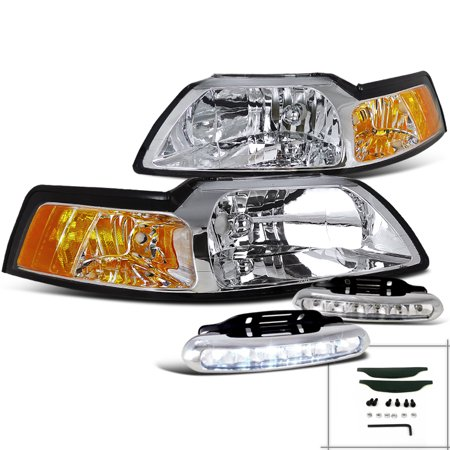 Spec-D Tuning For 1999-2004 Ford Mustang Gt Svt Crystal Headlights W/Amber Reflector + Led Bumper Fog Lamp (Left+Right) 1999 2000 2001 2002 2003