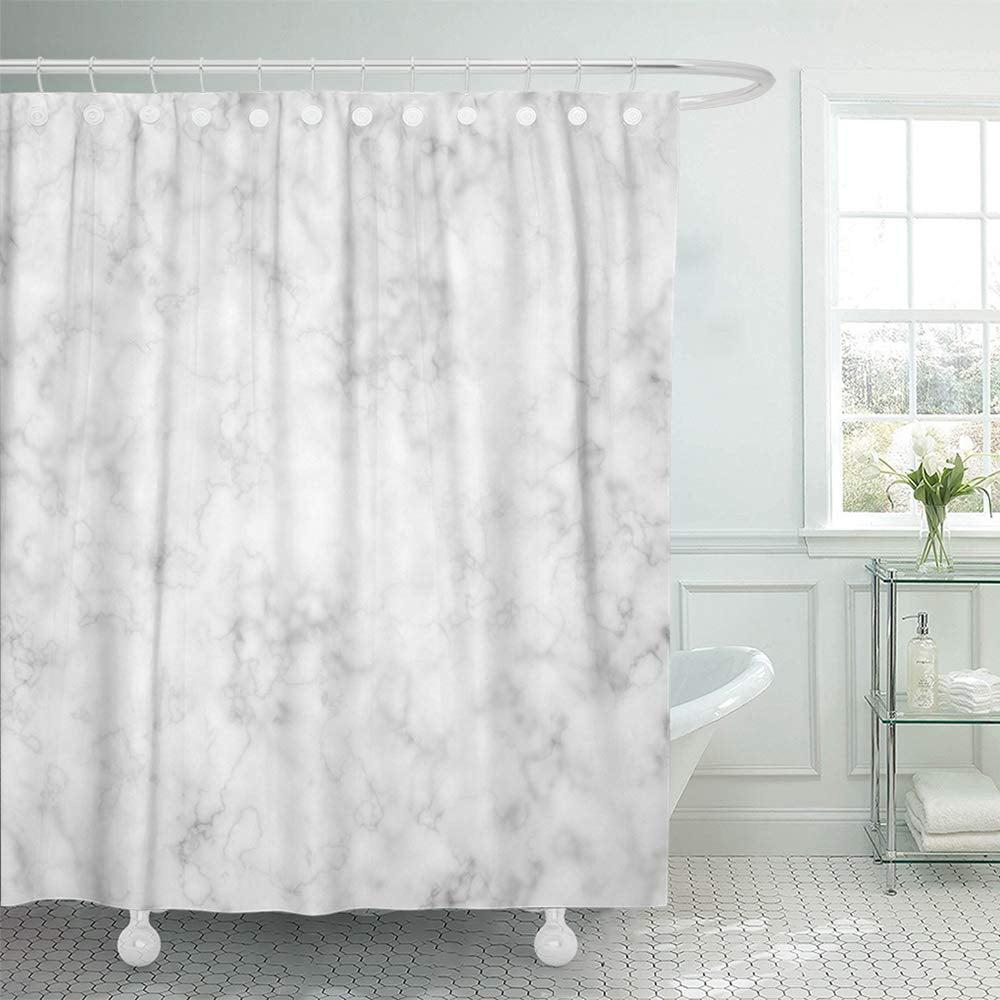 PKNMT Gray Granite Marble White Wall Floor Ceramic Stone Bathroom Architecture Light Shower Curtain Bath Curtain 66x72 inch