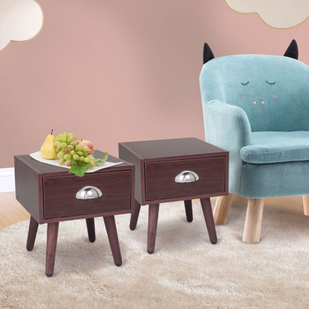 Jaxpety Mid Century Nightstand Bedside Table w/ Drawer End Table Set of 2 Home Decor Furniture Brown