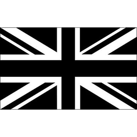 Decal Union (Black Jack Flag Sticker Decal (union uk black white) Size: 3 x 5 inch)