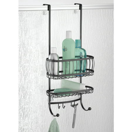 InterDesign York Lyra Bathroom Over the Door Shower Caddy, Matte ...