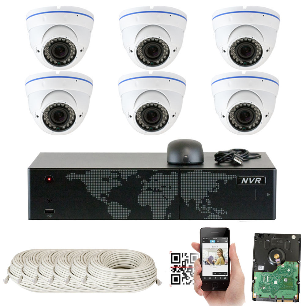 GW Security 5MP 1920p 8 Channel NVR Network Security Camera System - 6 x HD 5MP 1080P 2.8~12mm Varifocal Zoom Weatherproof Dome PoE IP Camera