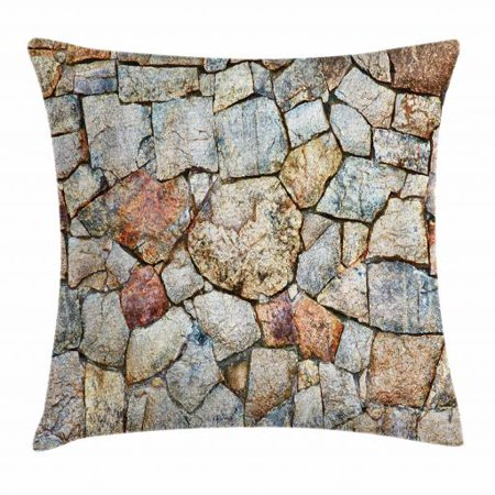 Cobblestone Throw Pillow Cushion Cover, Realistic Illustration of Antique Style Rustic Natural Rubble Stone Wall Design, Decorative Square Accent Pillow Case, 20 X 20 Inches, Multicolor, by (20 Antique Bronze Cobblestone)