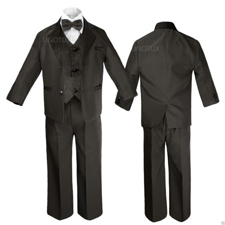 Black  Boy Wedding Formal Party no tail Tuxedo Suit sz S M L XL 2T 3T 4T 5 6 -20 - Tail Tuxedo