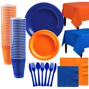 Party City Mix and Match Plastic Tableware Kit for 100 Guests, 852 Pieces, Includes Plates, Napkins, and Table Covers