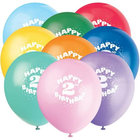 12 Happy 2nd Birthday Latex Balloons 6ct