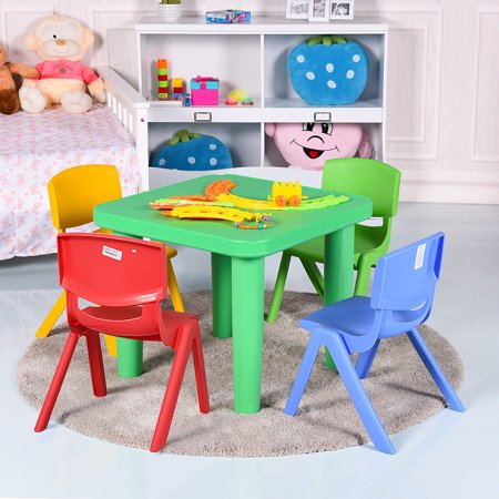 Kids Plastic Table and 4 Chairs Set Colorful Playroom School Home Furniture New - image 9 de 10