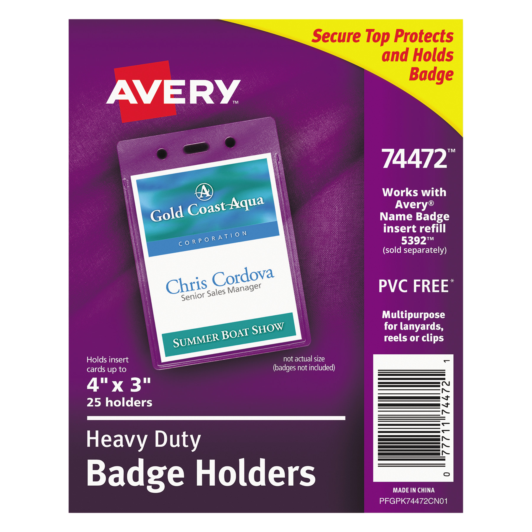 Avery Secure Top Heavy-Duty Badge Holders, Vertical, 3w x 4h ...