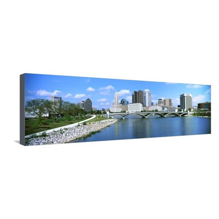 Bridge across the Scioto River with skyscrapers in the background, Columbus, Ohio, USA Stretched Canvas Print Wall Art - Halloween Usa Columbus Ohio