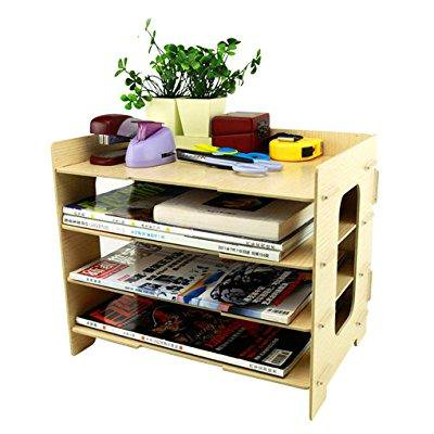 Clobeau Wooden Diy 4 Tier Creative Desktop File Rack Paper Doent Holder Sorter Office Home