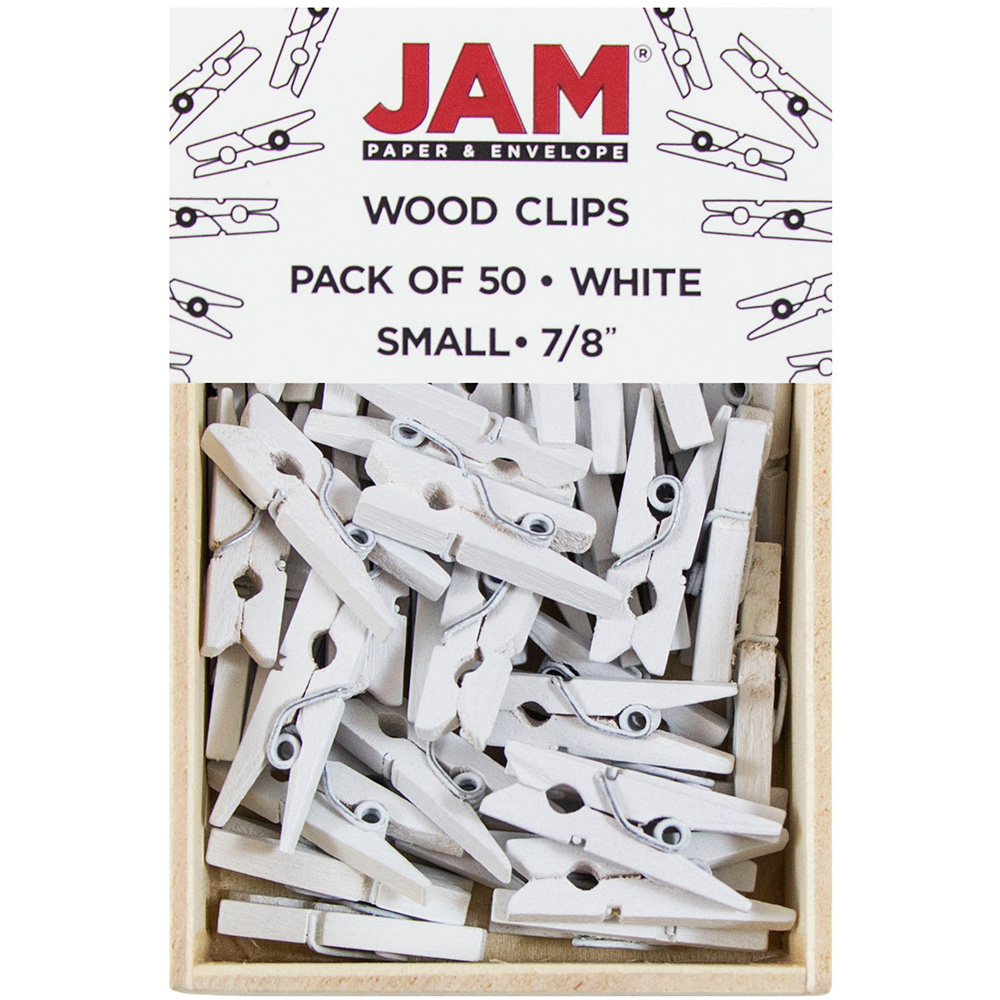 JAM Paper Wood Clothing Pin Clips, Small, 7/8, White, 50/pack