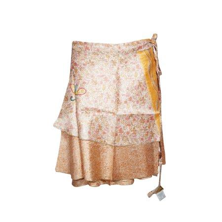 Mogul Womens Wrap Skirt Silk Sari Two Layer Vintage Magic Wrap Wraparound Mini Skirts Herringbone Silk Skirt
