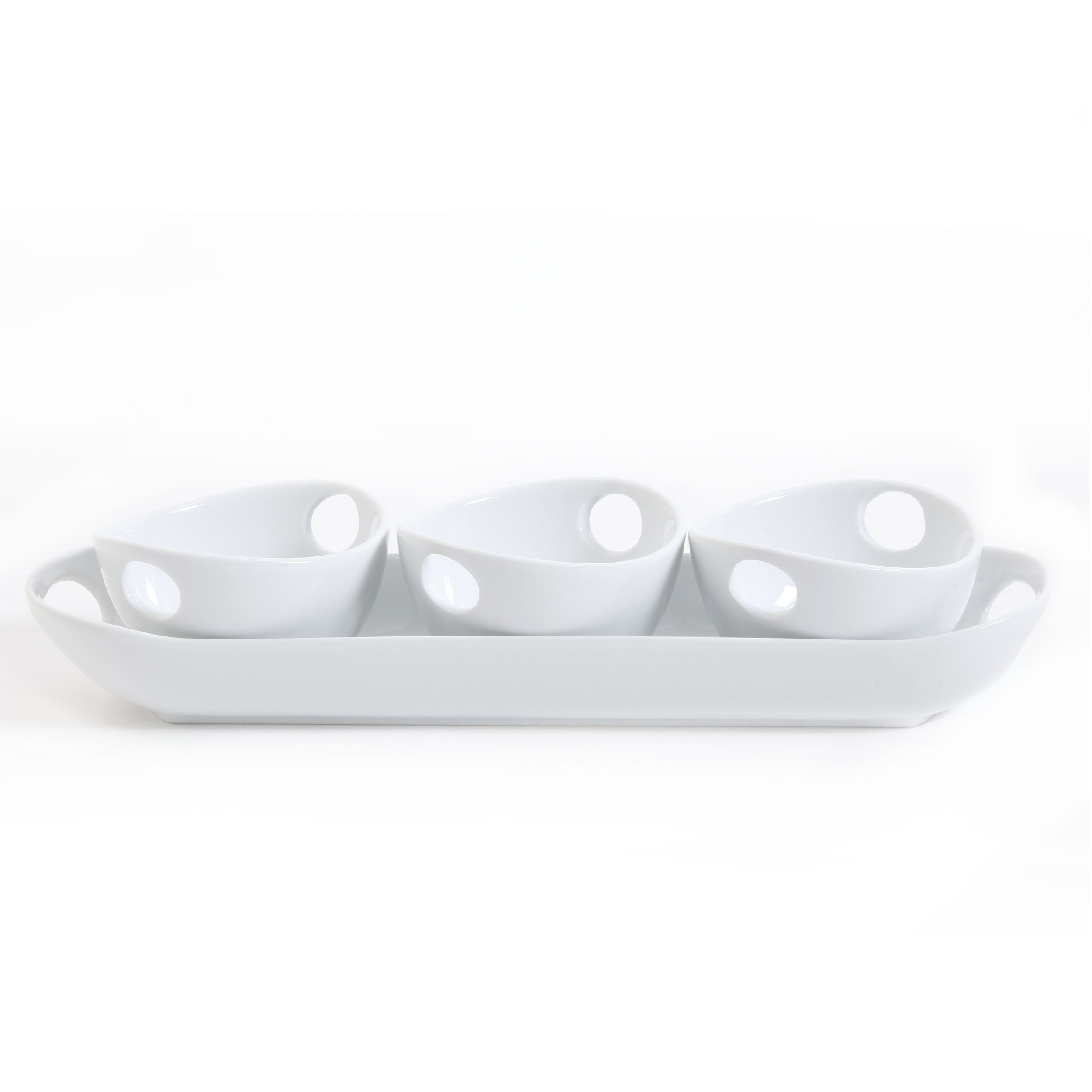 Gibson Elite Ceramic Dining Serving Dish Set With Tray (4 Pieces), White