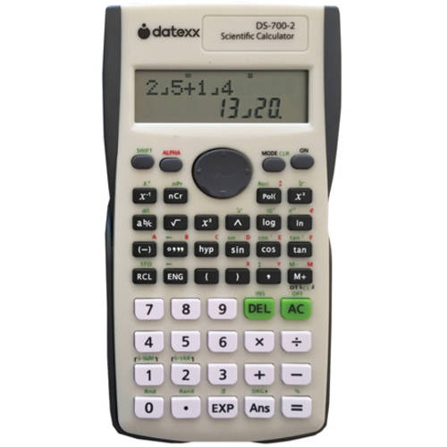 Datexx 2-Line Scientific Calculator, Gray